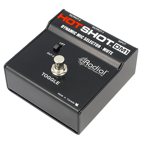 Radial HotShot DM1 Momentary footswitch toggles dynamic mic from PA to intercom