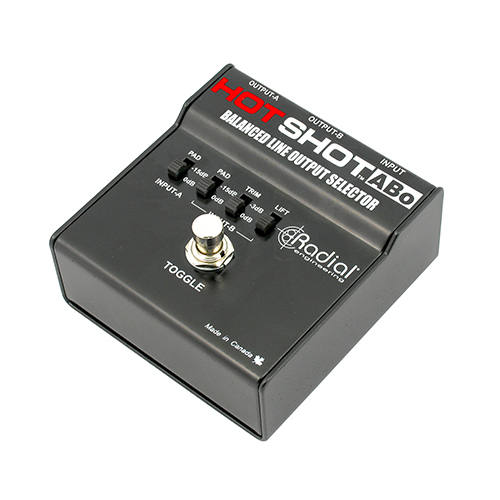 Radial HotShot ABo Latching footswitch toggles one XLR input to two XLR outputs