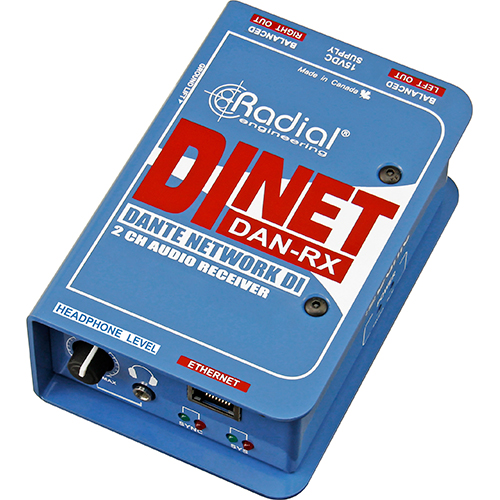 Radial DiNet Dan-RX Dante network receiver, digital inputs and stereo analog outputs