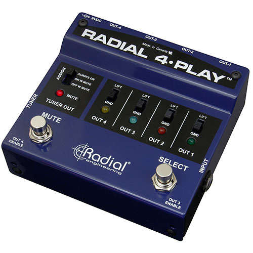 Radial 4-Play DI box for multi-instrumentalists with 4 balanced outputs