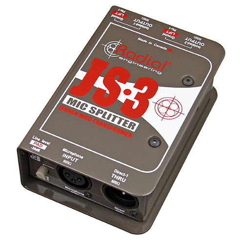 Radial Engineering JS3 Mic splitter, passive with 1-input, 1-direct out & 2 Jensen isolated outputs