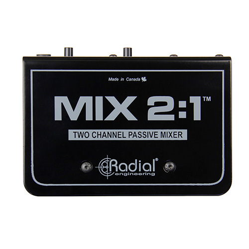 Radial MIX 2:1 2 channel stereo to mono mixer, passive, TRS & XLR inputs, XLR out