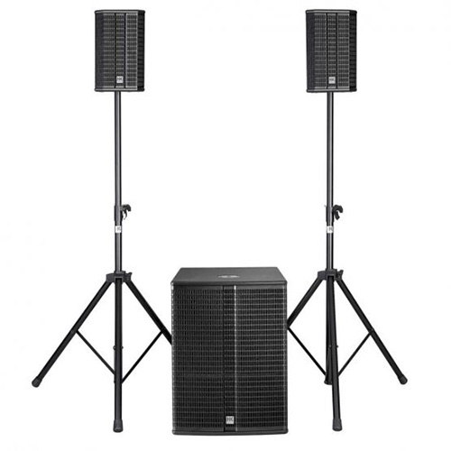 HK Audio LUCAS 2K 18, Active 2.1 stereo PA system, 2,000-watt peak power, two satellites speakers and  18″ bass reflex subwoofer,