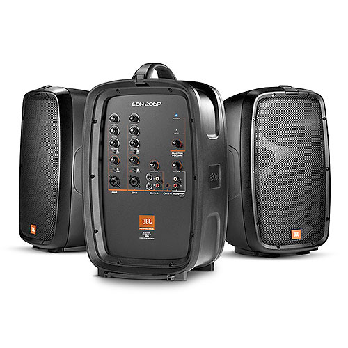 "JBL EON206P PA System with powered 6-channel mixer and 2 x 6.5"" JBL two-way speakers"