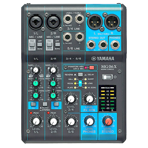 Yamaha MG06X-CA 6-input stereo mixer, SPX effects, 2 mic inputs, 2 stereo inputs