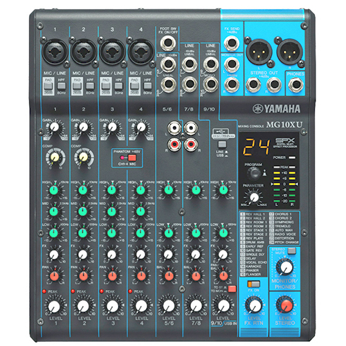 Yamaha MG10XU-CA 10-input stereo mixer, 24 SPX effects, 2 channels of single-knobcompression, USB audio interface
