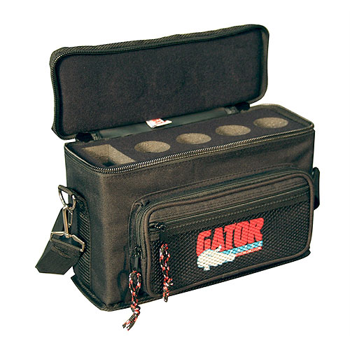 Gator GM-4 Padded Bag for Up to 4 Mics w/ Exterior Pockets for Cables