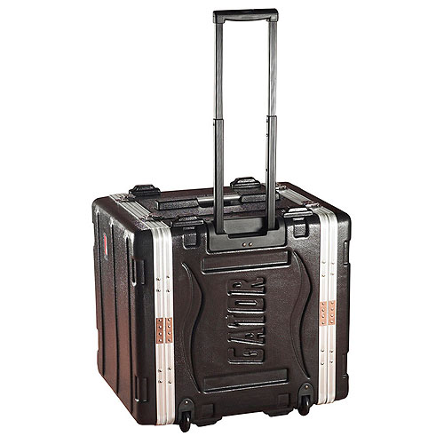 "Gator GRR-6L Molded PE Rack Case; Front, Rear Rails; 6U; 19"" Deep; Locking, Pull Handle, Recessed Wheels"