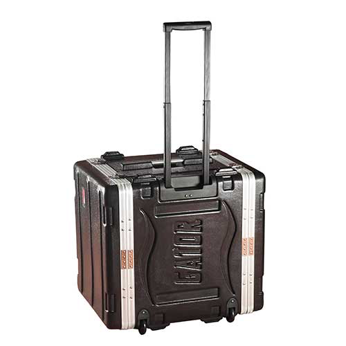 "Gator GRR-8L Molded PE Rack Case; Front, Rear Rails; 8U; 19"" Deep; Locking, Pull Handle, Recessed Wheels"