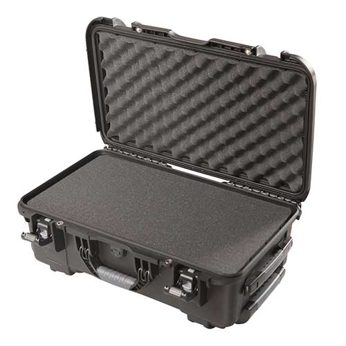 Gator GU-2011-07-WPDF Black waterproof injection molded case with pullout handle and inline wheels.