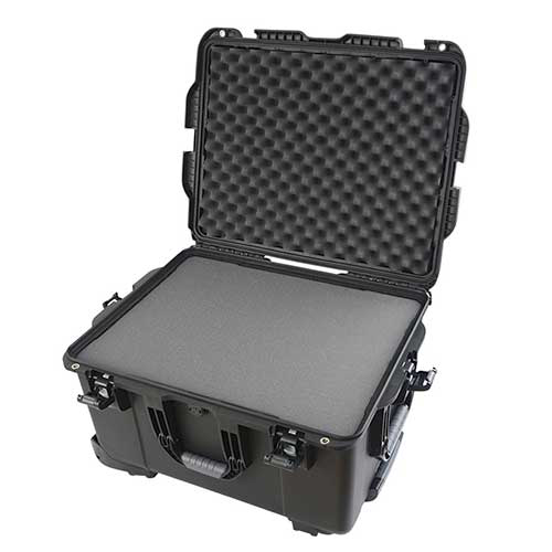 Gator GU-2217-13-WPDF Black injection molded case with pullout handle, inline wheels, and interior dims, DICED FOAM