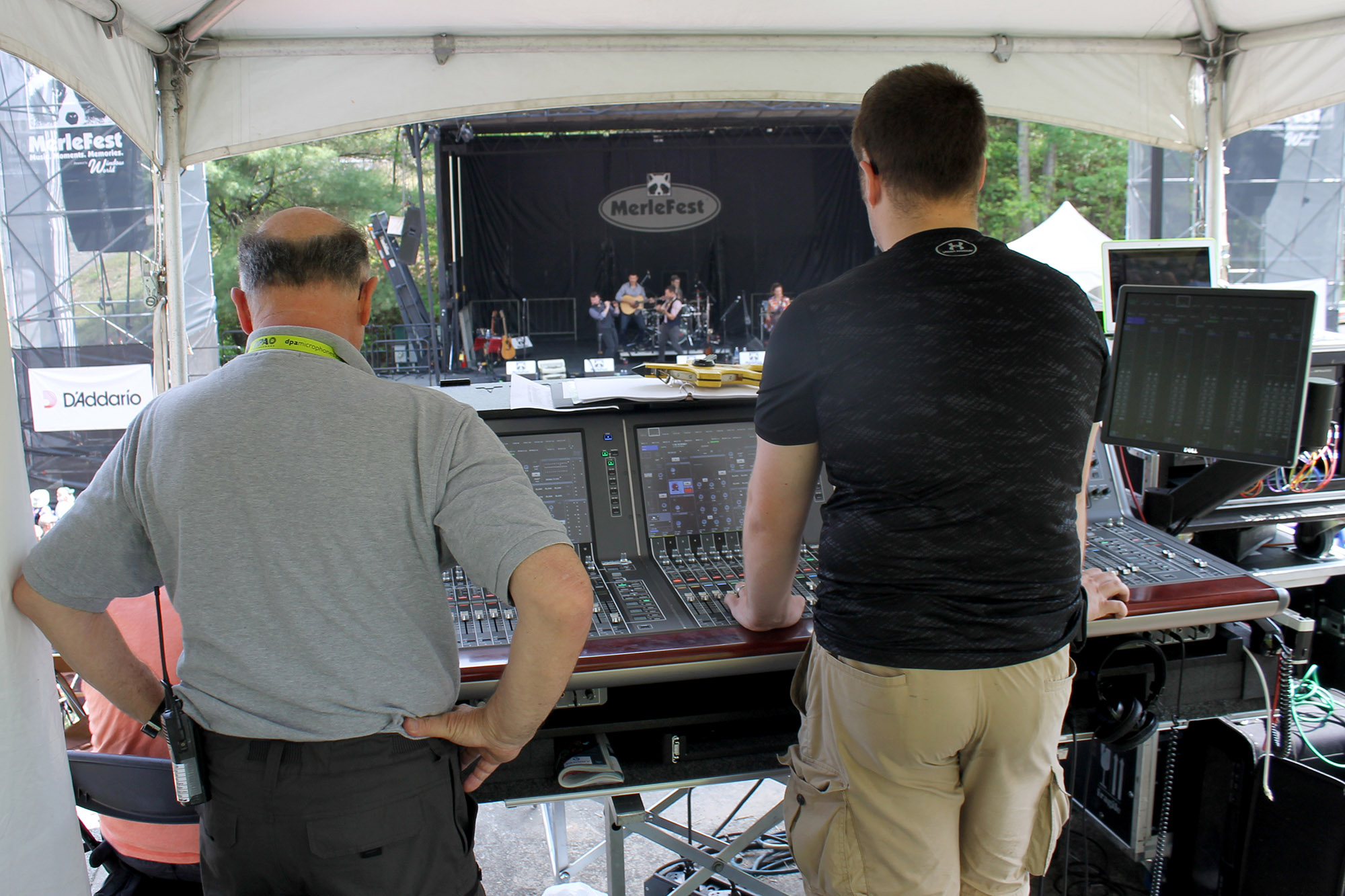 Yamaha Rivage with FOH Techs Boban Peteovic and Peter Blackwood.